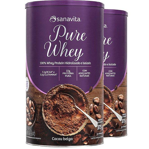 Kit 2 Whey Protein 100% H.I Sanavita Cacau 375g