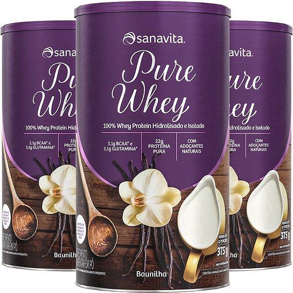 Kit 3 Whey protein 100% H.I Sanavita Baunilha 375g