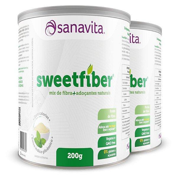 Kit 2 SweetFiber Mix de Fibra de Adoçantes Naturais Sanavita 200g
