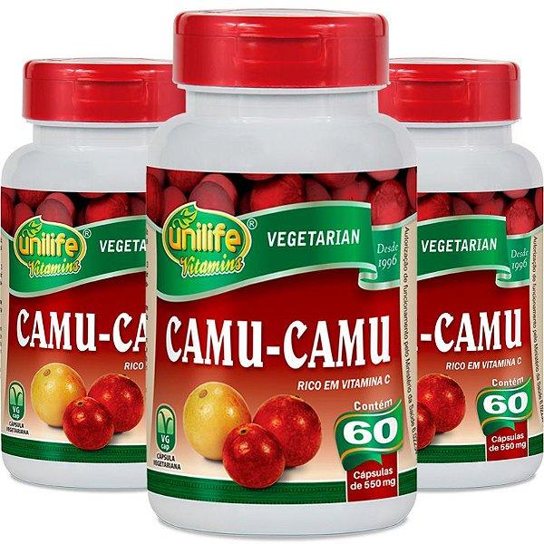 Kit 3 Camu Camu 500mg Vitamina C Unilife 60 Cápsulas