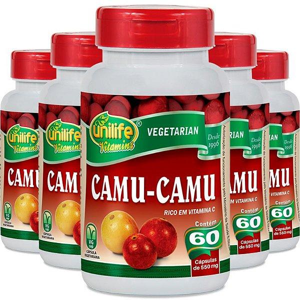 Kit 5 Camu Camu 500mg Vitamina C Unilife 60 Cápsulas