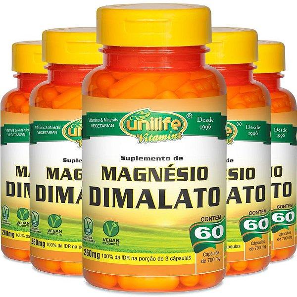 Kit 5 Magnésio Dimalato Unilife 60 cápsulas