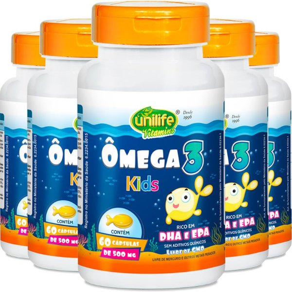 Kit 5 Ômega 3 Kids 500mg Unilife 60 Cápsulas