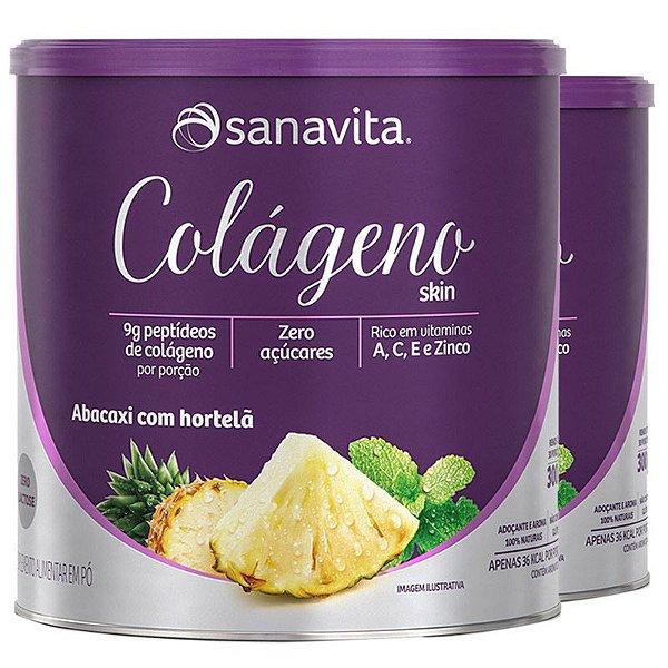 Kit 2 Colágeno Hidrolisado em pó Sanavita 300g Abacaxi com Hortelã