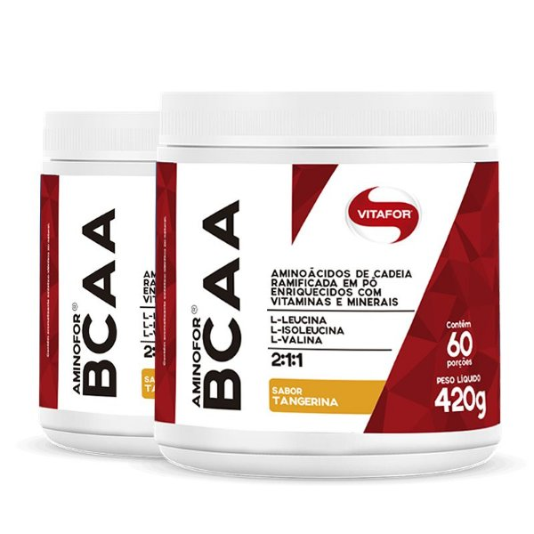 Kit 2 Aminofor BCAA em pó Vitafor 420g Tangerina