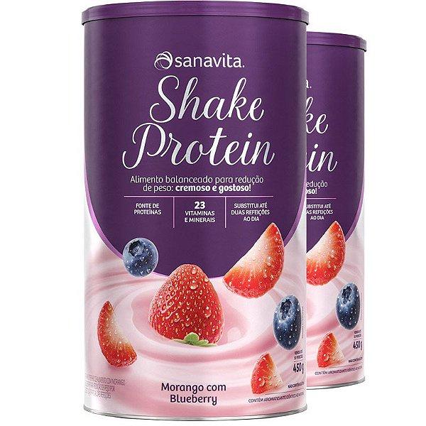 Kit 2 Shake Subs. Refeição Sanavita morango e blueberry 450g