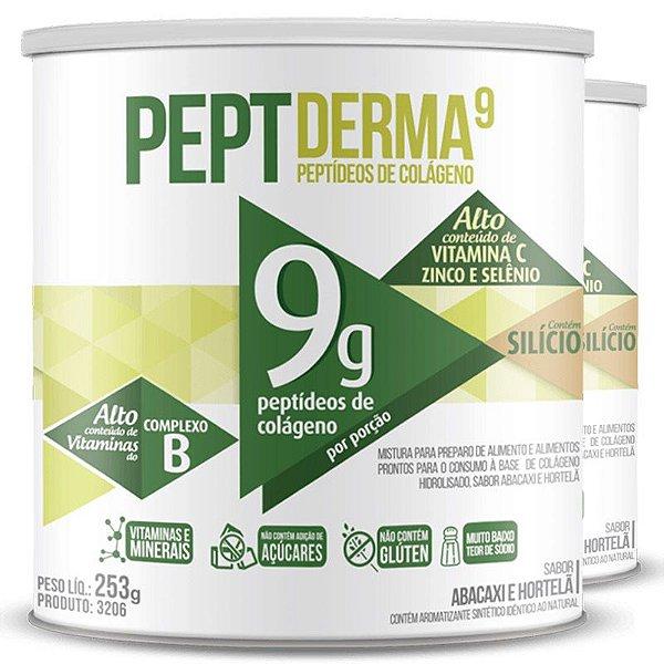 Kit 2 Colágeno Peptderma 9 Chá mais Abacaxi com hortelã 253g