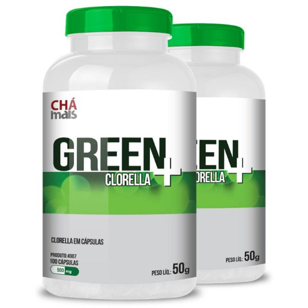 Kit 2 Clorella Green 500mg Chá Mais 100 cápsulas