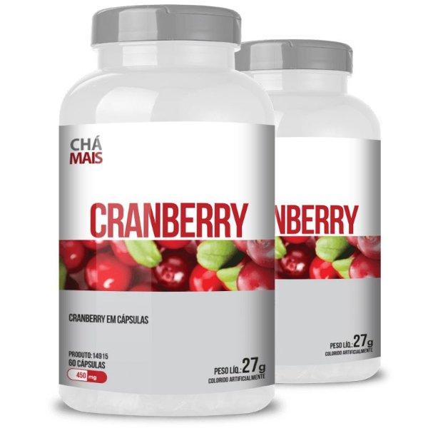 Kit 2 Cranberry 450mg Chá Mais 60 cápsulas