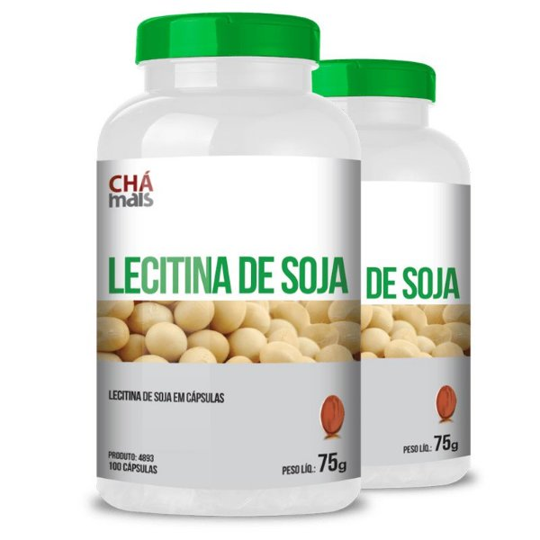 Kit 2 Lecitina de soja 500mg Chá mais 100 cápsulas