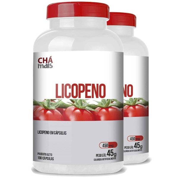 Kit 2 Licopeno Vitamina E 450mg Chá Mais 100 cápsulas