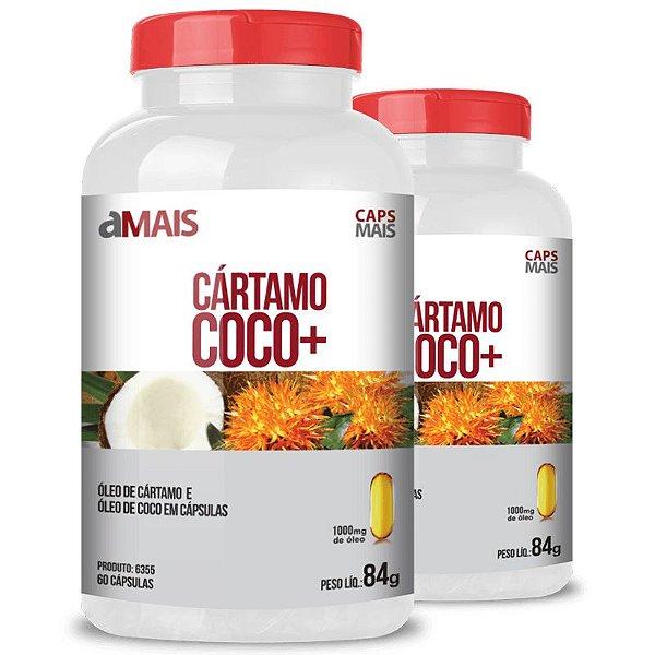 kIt 2 Óleo de Cartamo + Óleo de Coco 1000mg Chá Mais 60 cápsulas