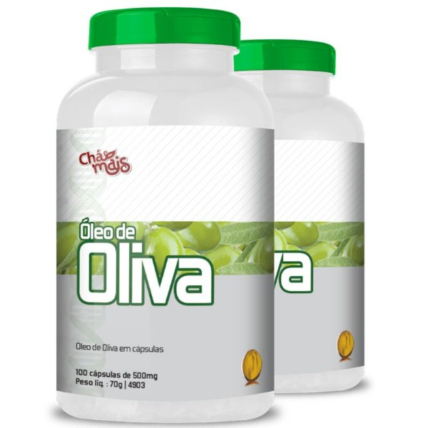 Kit 2 Óleo de Oliva 500mg Chá Mais 100 cápsulas