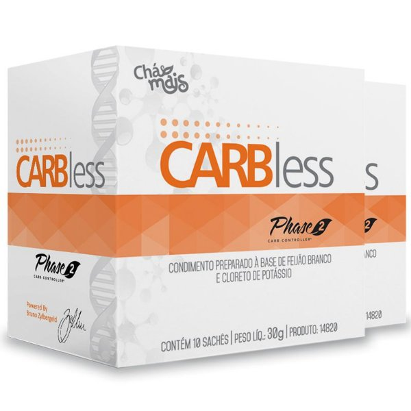 Kit 2 Carbless Phase2 Carb Controller Chá Mais 10 sachês