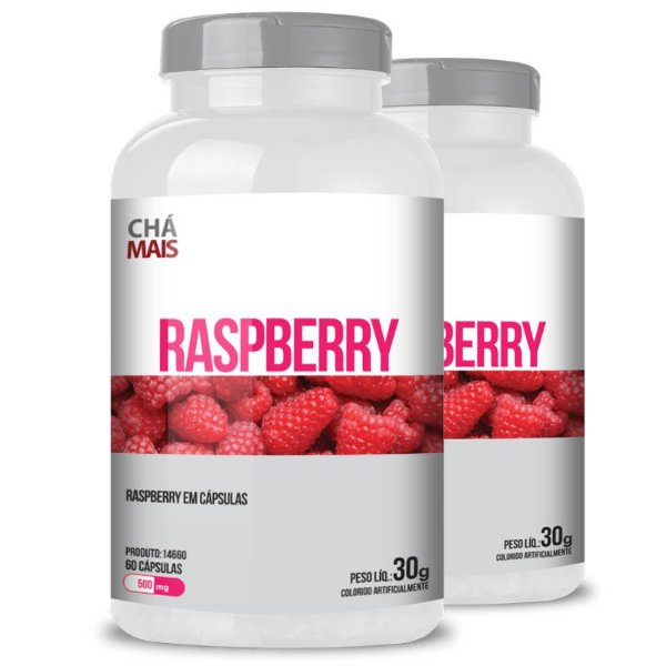 Kit 2 Raspberry 500mg Chá mais 60 cápsulas