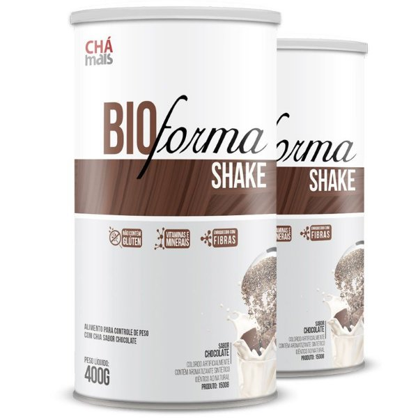 Kit 2 Shake Bio Forma Chá Mais  400g Chocolate