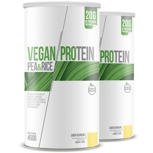 Kit 2 Vegan Protein Pea & Rice Chá Mais 450g Baunilha