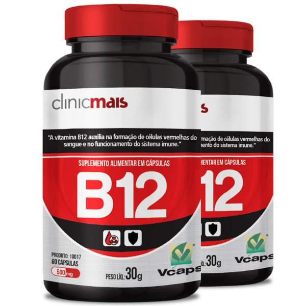 Kit 2 Vitamina B12 500mg Chá mais 60 cápsulas