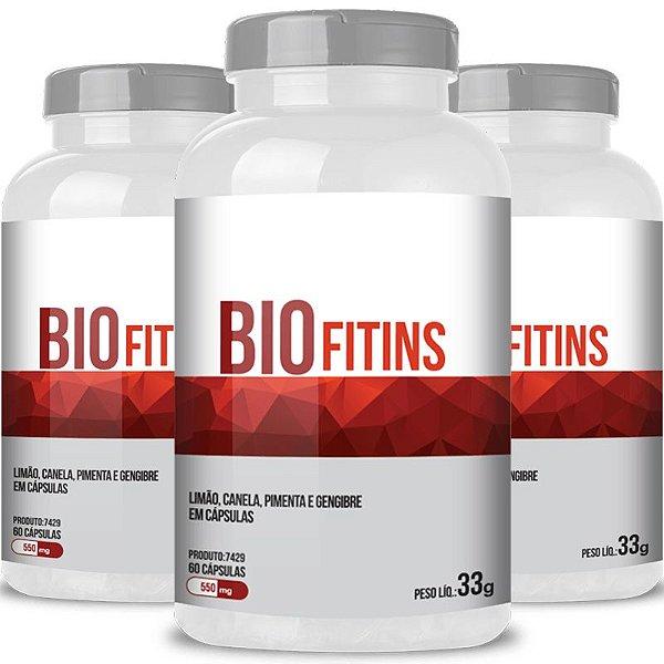 Kit 3 Bio Fitins Termogenico 550mg Chá Mais 60 cápsulas