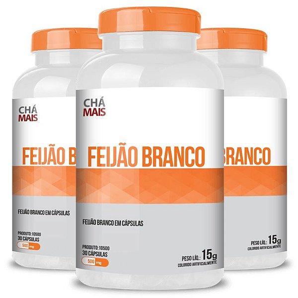 Kit 3 Feijão Branco 500mg Chá Mais 30 cápsulas