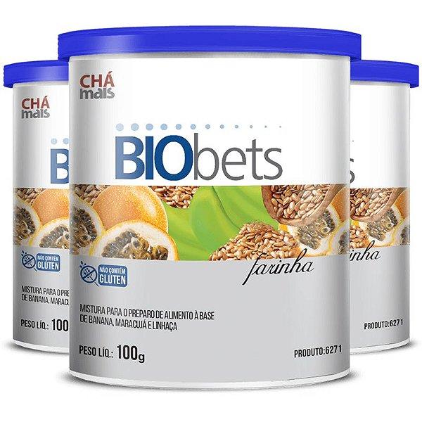 Kit 3 Farinha Biobets Fibras Alimentares Chá Mais 100g