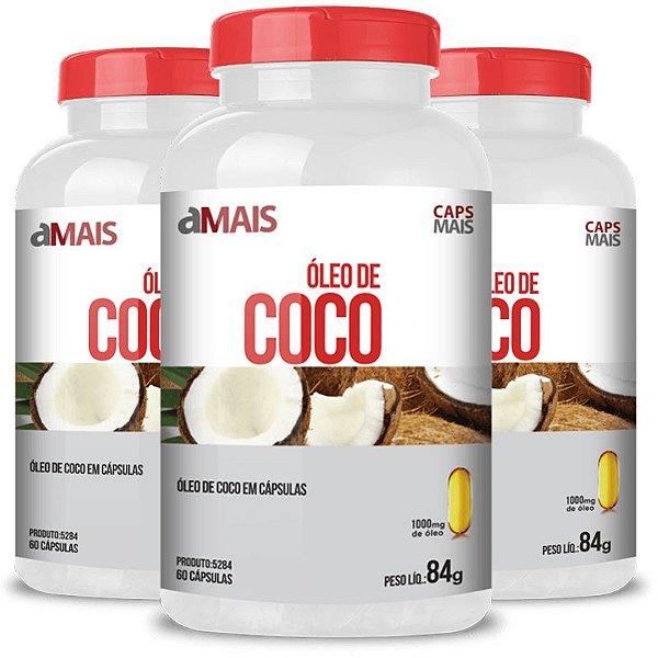 Kit 3 Óleo de coco extra virgem 1000mg Chá Mais 60 cápsulas