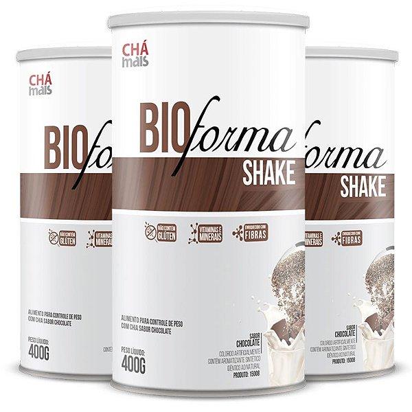 Kit 3 Shake Bio Forma Chá Mais  400g Chocolate