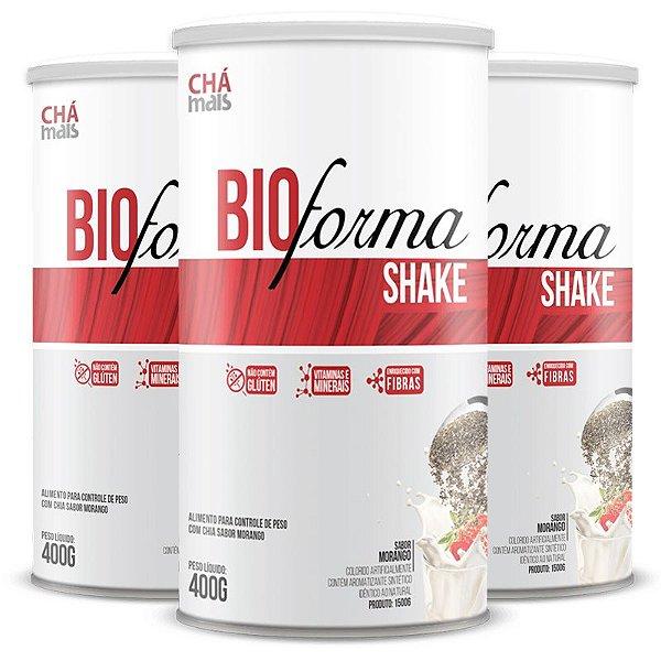Kit 3 Shake Bio Forma Chá Mais  400g Morango