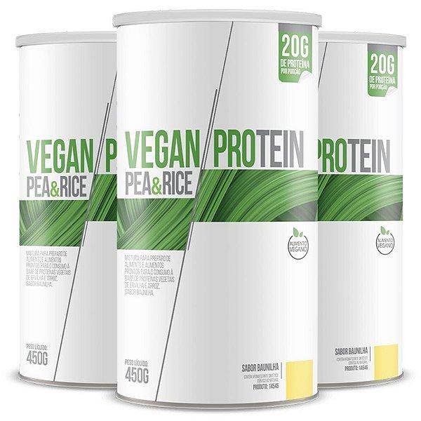 Kit 3 Vegan Protein Pea & Rice Chá Mais 450g Baunilha