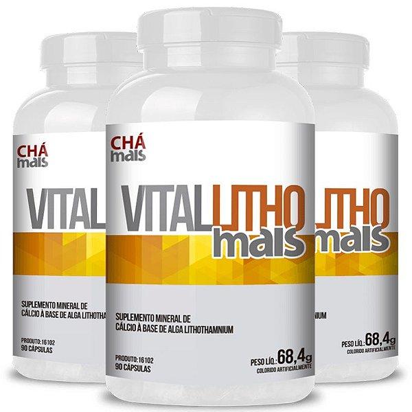 Kit 3 Vital Litho Complexo de Minerais 760mg Chá Mais 90 cápsulas
