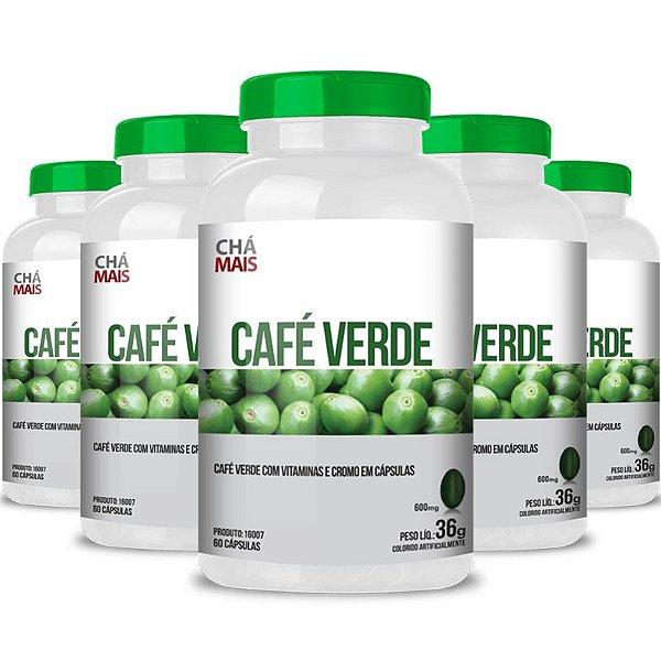Kit 5 Café Verde com Vitamina C Chá mais 60 cápsulas