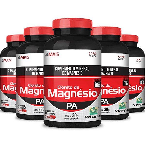 Kit 5 Cloreto de magnésio 500mg Chá mais 60 cápsulas