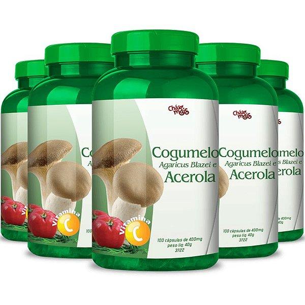 Kit 5 Cogumelo Agaricus Blazei + Acerola Chá mais 100 cápsulas