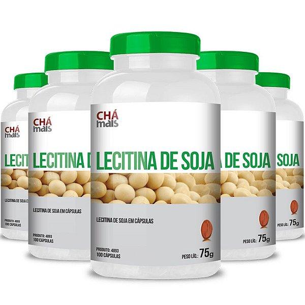 Kit 5 Lecitina de soja 500mg Chá mais 100 cápsulas
