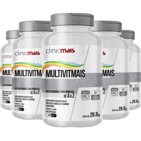 Kit 5 Multimais Polivitamínico 550g Chá mais 120 cápsulas