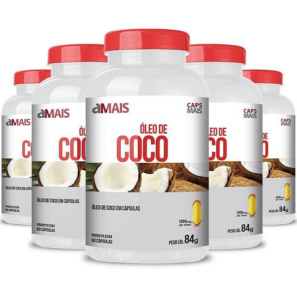 Kit 5 Óleo de coco extra virgem 1000mg Chá Mais 60 cápsulas