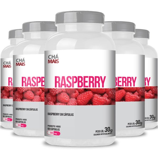 Kit 5 Raspberry 500mg Chá mais 60 cápsulas