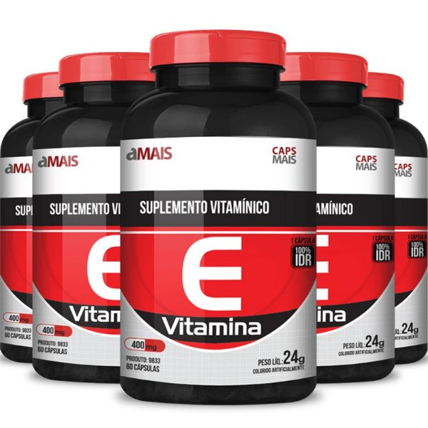 Kit 5 Vitamina E 400mg Chá mais 60 cápsulas