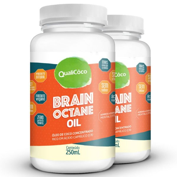 Kit 2 Brain Octane Oil MCT Qualicôco 250ml