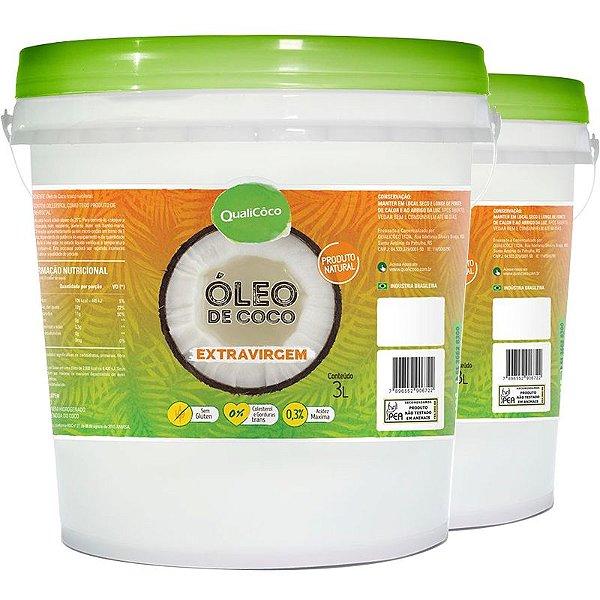 Kit 2 Óleo de Coco Extra Virgem Qualicoco 3 Litros