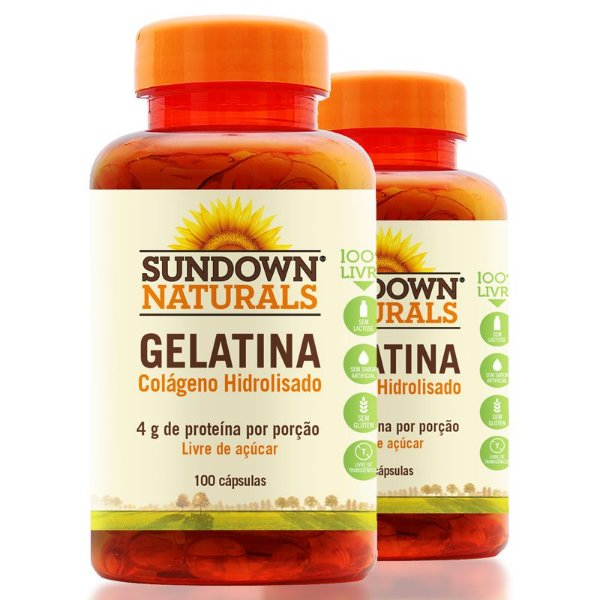 Kit 2 Colágeno Gelatina 4g Sundown 100 cápsulas