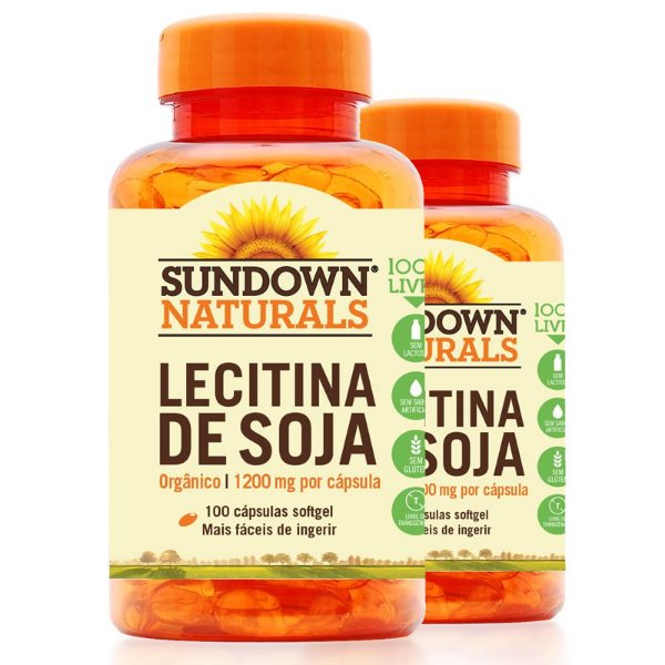 Kit 2 Lecitina de Soja 1200mg Sundown 100 cápsulas