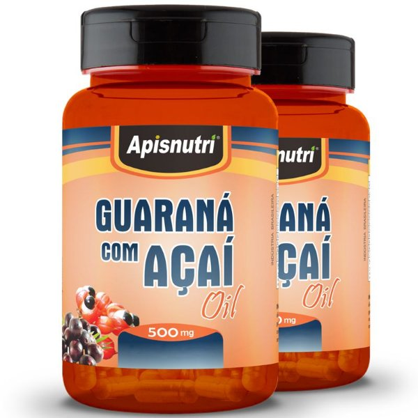 Kit 2 Guaraná com Açaí 500mg Oil Apisnutri 60 Cápsulas