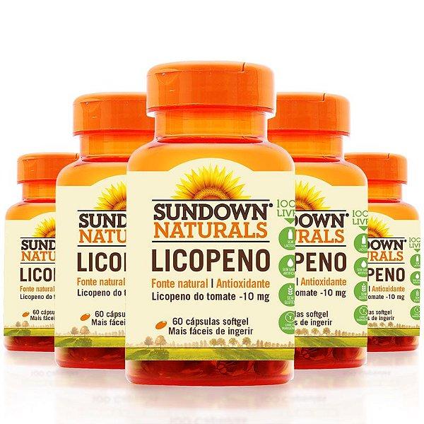 Kit 5 Licopeno 10mg Lycopene Sundown 60 cápsulas