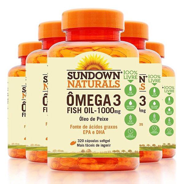 Kit - 5 Fish Oil Ômega 3 Sundown 320 Cápsulas