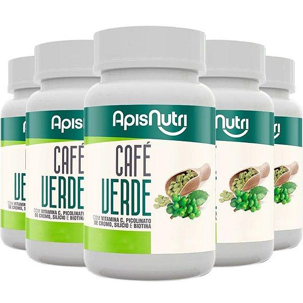 Kit 5 Café Verde 500mg Apisnutri 120 cápsulas