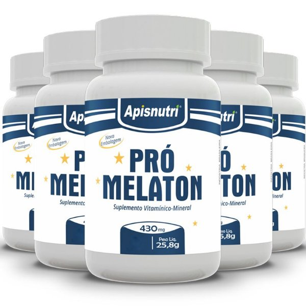 Kit 5 Pró Melaton Apisnutri 430mg 120 cápsulas