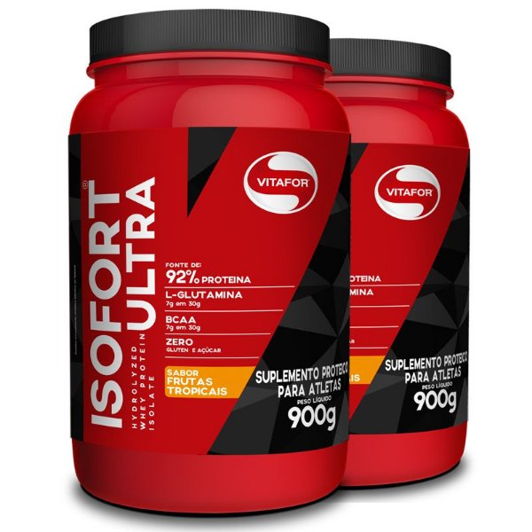 Kit 2 Whey Isolado Isofort Ultra Vitafor 900g Frutas Tropicais