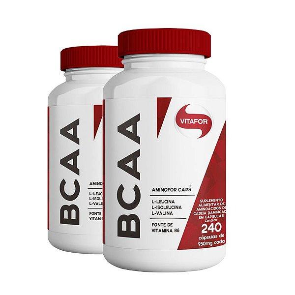 Kit 2 Aminofor BCAA Vitafor 240 cápsulas