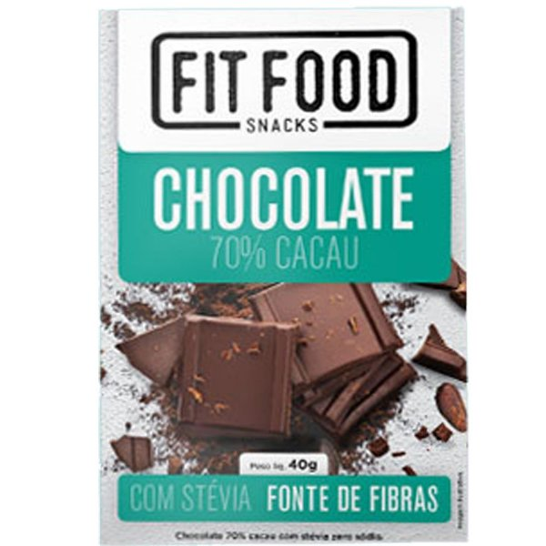 Chocolate 70% cacau adoçado com Stévia Fit Food